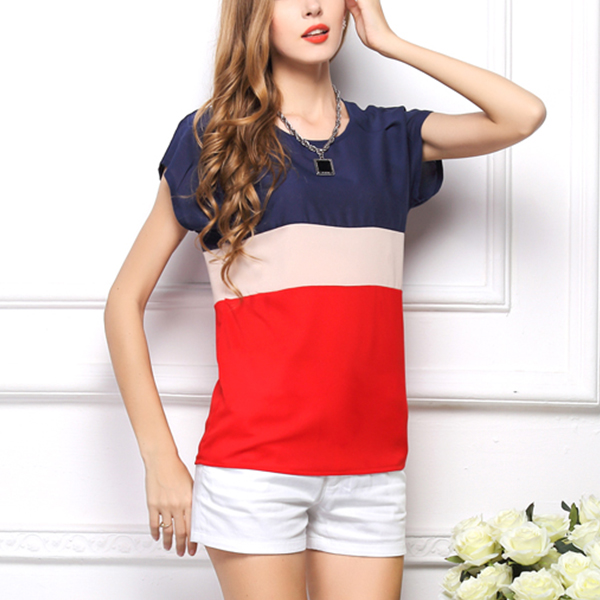 Casual Fresh Patchwork Color Short Sleeve O-neck Lady Shirt Red
