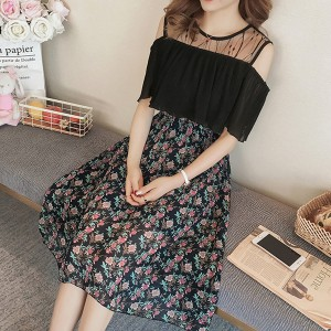 Cold Shoulder Round Neck Thin Fabric Floral Dress - Black