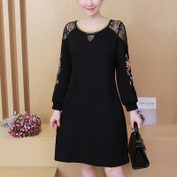 Round Neck Mesh Embroidery Women Dress - Black