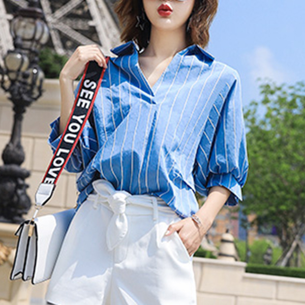 Back Button Up Collar Casual Blouse Shirt - Blue