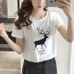 Deer Prints Round Neck Short Sleeves Casual T-Shirt - White