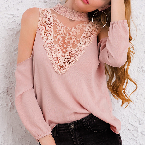 Floral Texture Lace Cold Shoulder Top - Khaki