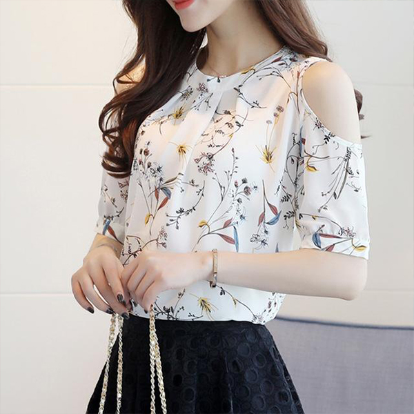 Flower Prints Cold Shoulder Formal Top