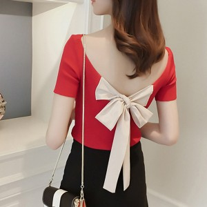 Backless Knotted Short Sleeves Top - Red