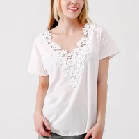 Floral Lace Patched White Top