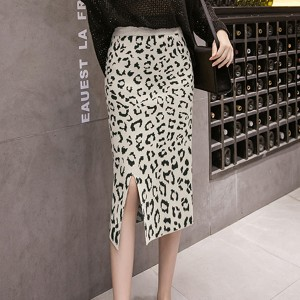 Leopard Prints Split Hem Party Wear Skirt - Apricot