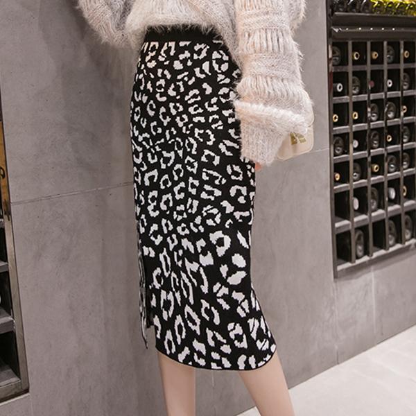 Leopard Prints Split Hem Party Wear Skirt - Black