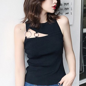 Cutout Formal Wear Sleeveless Modern Blouse Shirt - Black