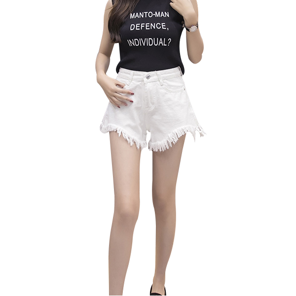 Denim Jeans Shorts High Waist Wide Leg Hot Pants White