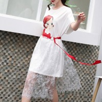 Girl Printed Round Neck Lace Skirt T-Shirt Dress - White