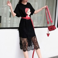 Girl Printed Round Neck Lace Skirt T-Shirt Dress - Black
