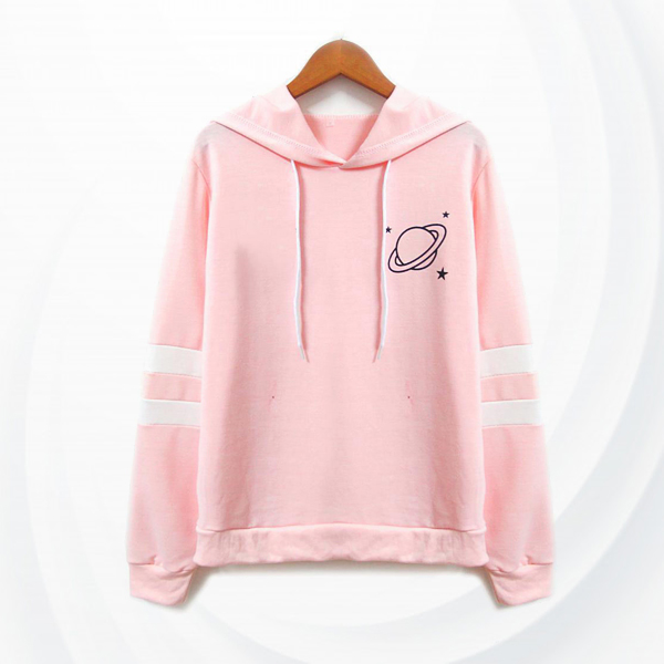 Striped Drawstring Hoodie Pull Over T-Shirt - Pink