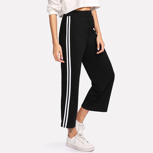 White Striped Black Loose Trousers