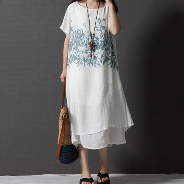 Digital Prints Loose Flared Midi Dress - White