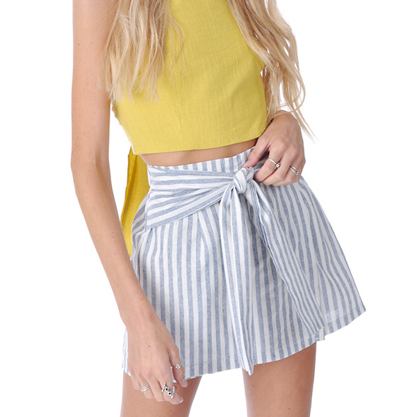 Summer Frills Striped Sexy Slim Short Skirts