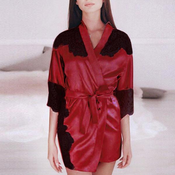 Lace Tassel Sleeved Nightwear Suit - Red