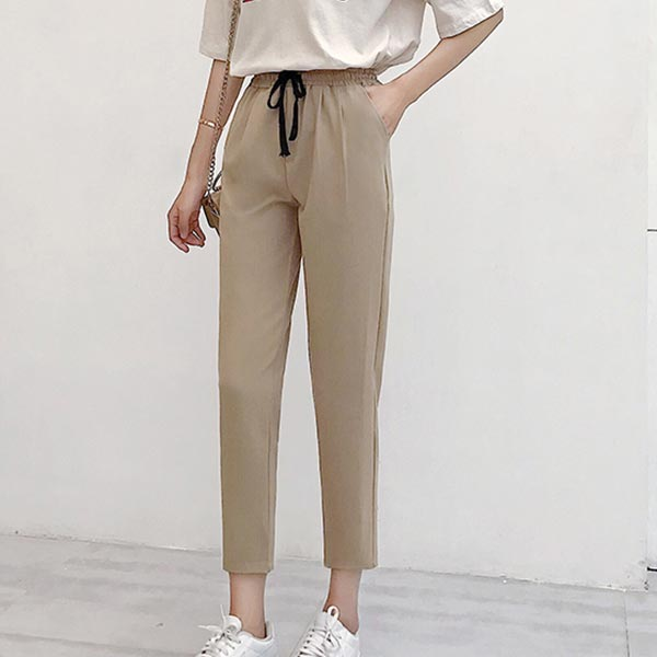 High-wasted Pants Linen Loose-fit Casual Capri - Apricot
