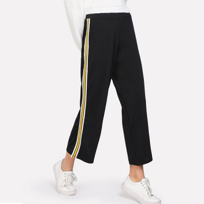 Yellow Striped Black Loose Trousers