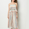 Stripes Strap Shoulder Top With Bottom - White