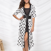 Polka Dot Prints Long Cardigan - White