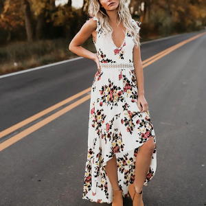 Backless Lace Patched Floral Casual Dress - White