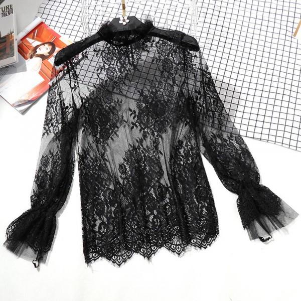 Lace High Neck Multipurpose Transparent Top - Black
