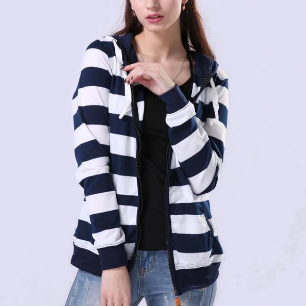 Striped Dual Pocket Hoodie Top