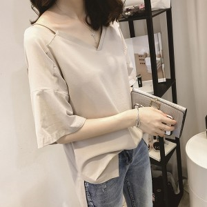 V Neck Half Sleeves Loose Blouse T-Shirt - Khaki