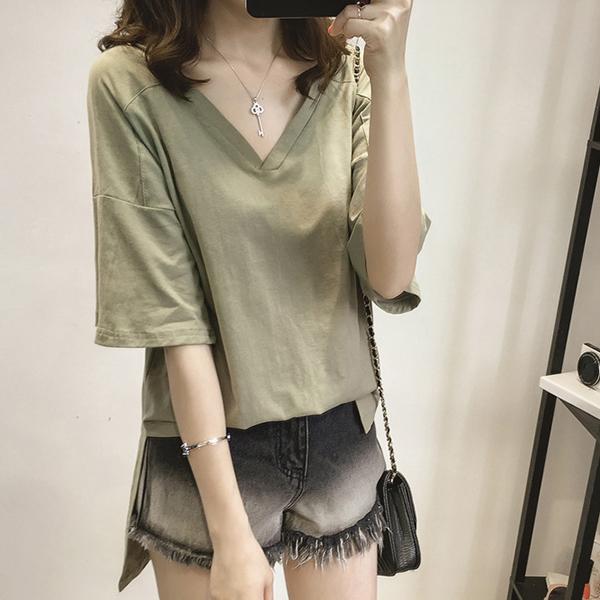 V Neck Half Sleeves Loose Blouse T-Shirt - Green