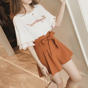 Text Prints Summer Blouse With Mini Shorts - Orange