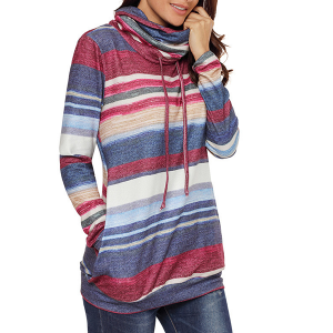 Shawl String Neck Contrast Stripes Hoodie T-Shirt - Blue