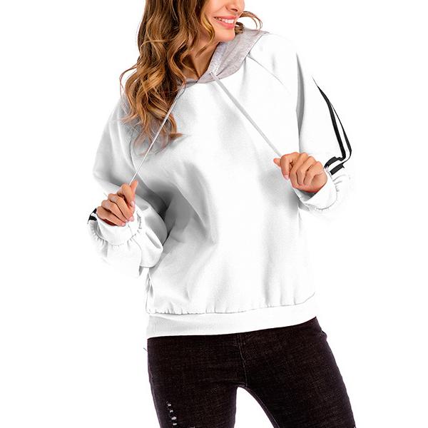 Loose Casual Winter Women Hoodie T-Shirt - White