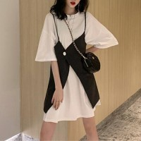 Round Neck Half Sleeves Two Pieces T-Shirt Dress