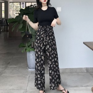 Printed Bottom Two Pieces Round Neck Suit - Black