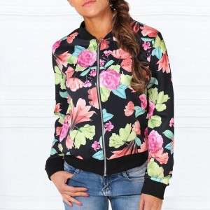 Jet Black Colorful Floral Winter Jacket