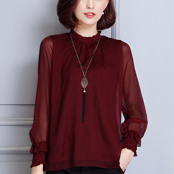 Chiffon Formal Textured Party Blouse Shirt - Burgundy