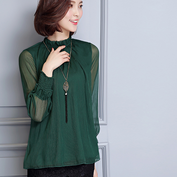Chiffon Formal Textured Party Blouse Shirt - Green