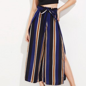 Striped Prints Zipper Casual Trouser - Without Belt