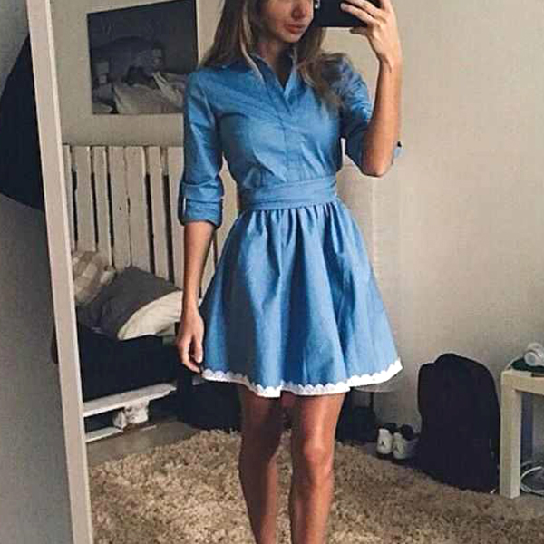 Stand Neck Quarter Sleeves Mini Dress - Blue
