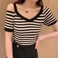 Cold Shoulder Stripes Print Summer Wear Top - Black