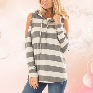 Grey And White Striped Cold Shoulder Hoodie Top