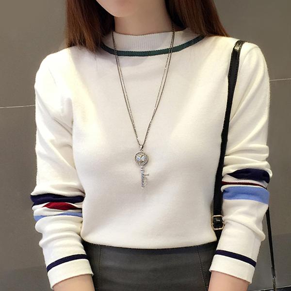 Stripes Round Neck Full Sleeves Winter T-Shirt - White