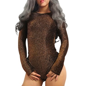 Brown Glitter Full Sleeves Slim Swimsuit