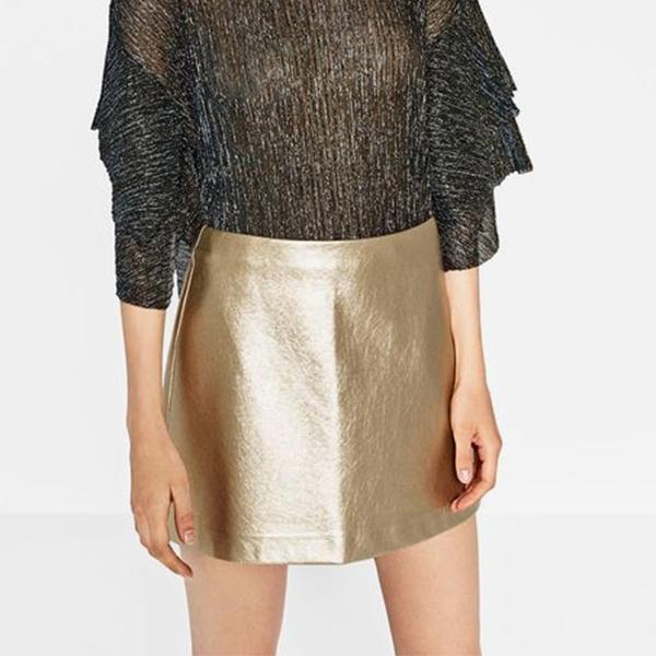 Golden PU Stylish Mini A-Skirt