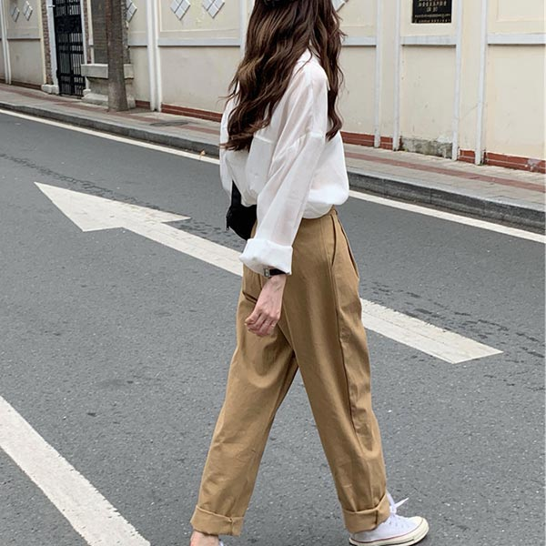 Long Sleeves Wide Pant Two Piece Suit - Khaki
