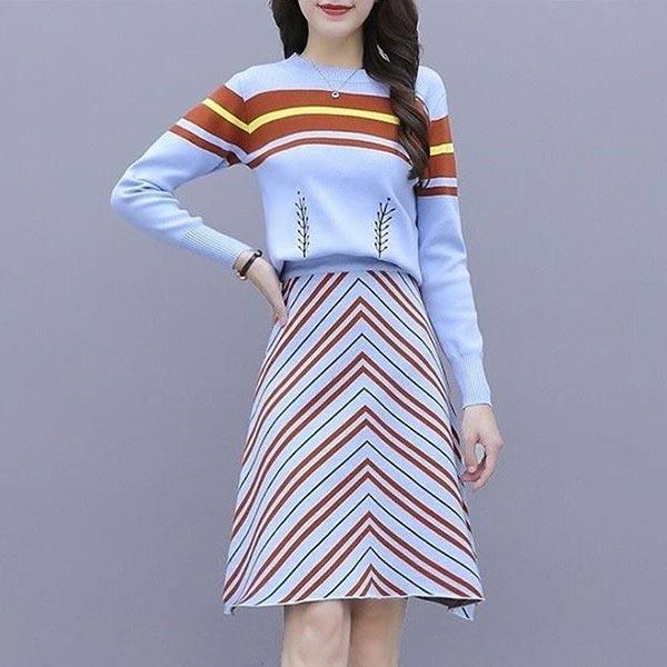 Knitted Strips Shirt Short Skirt Women 2pcs Dress - Blue