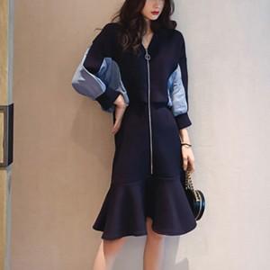V Neck Zipper Sports Wear Mini Dress