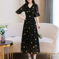 Flared Neck Printed Geometric Chiffon Midi Dress - Black