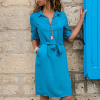 Shirt Collar Waist Knot Mini Dress - Blue