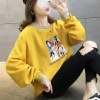 Loose Round Neck Velvet Thickening Sweater - Yellow